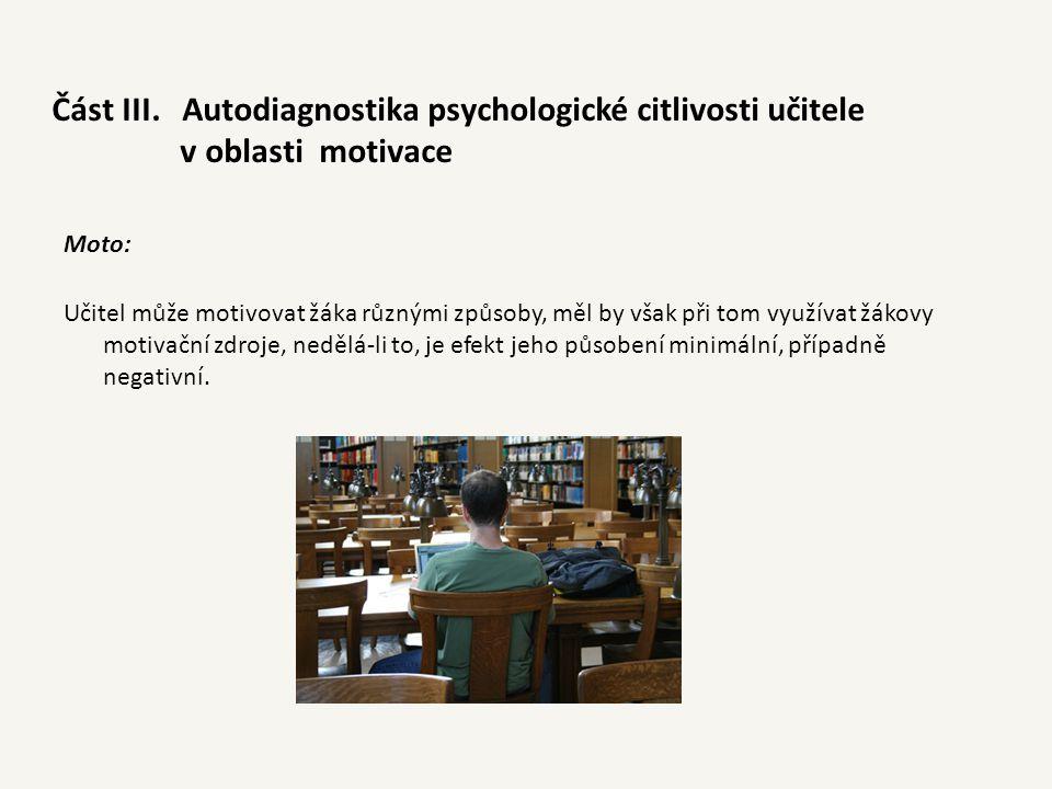 Část III. Autodiagnostika psychologické citlivosti učitele