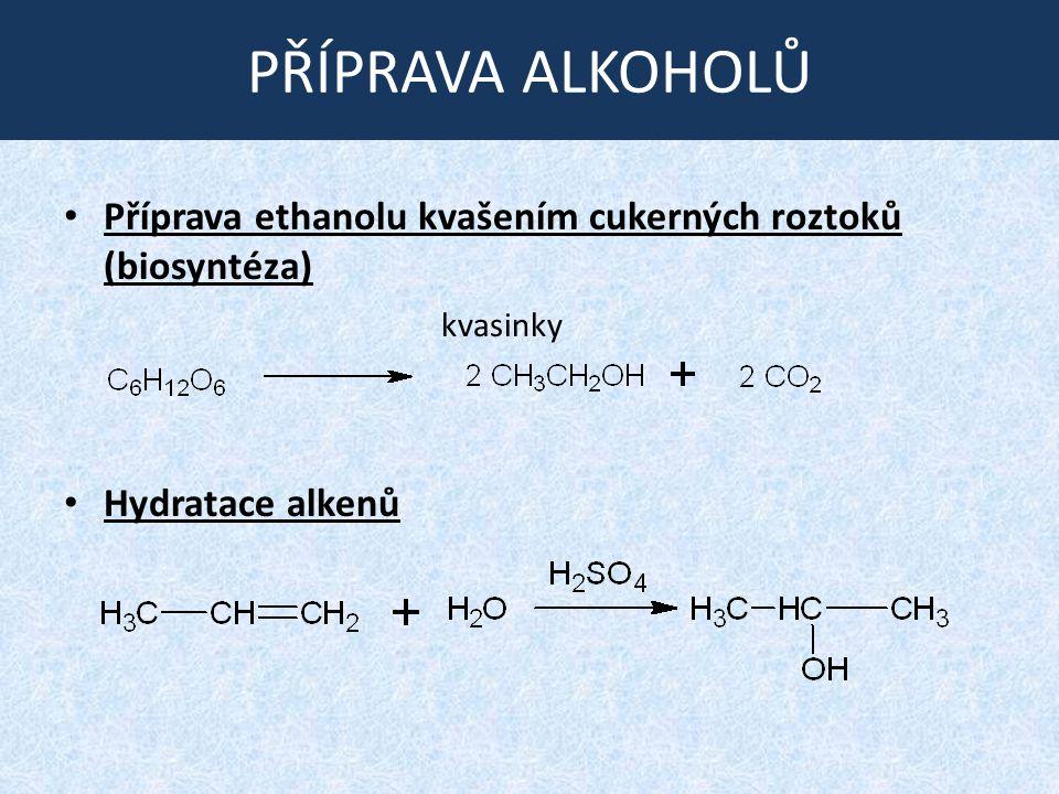 PŘÍPRAVA ALKOHOLŮ Příprava ethanolu kvašením cukerných roztoků (biosyntéza) Hydratace alkenů.