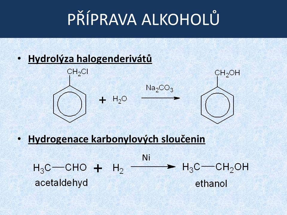 PŘÍPRAVA ALKOHOLŮ Hydrolýza halogenderivátů