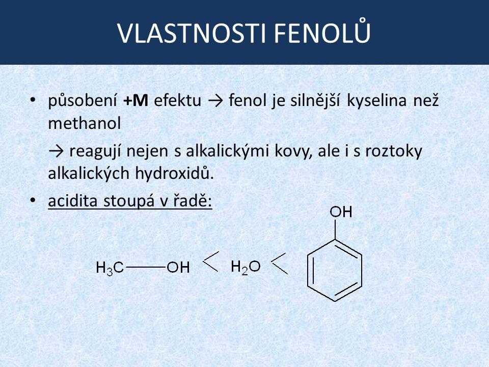 VLASTNOSTI FENOLŮ působení +M efektu → fenol je silnější kyselina než methanol.