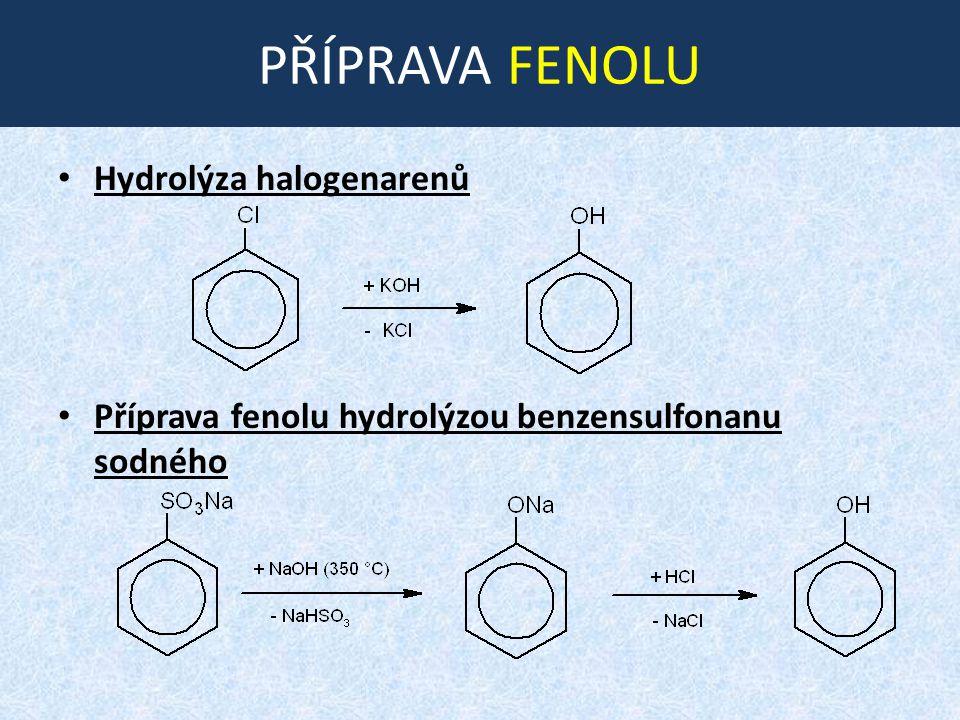 PŘÍPRAVA FENOLU Hydrolýza halogenarenů