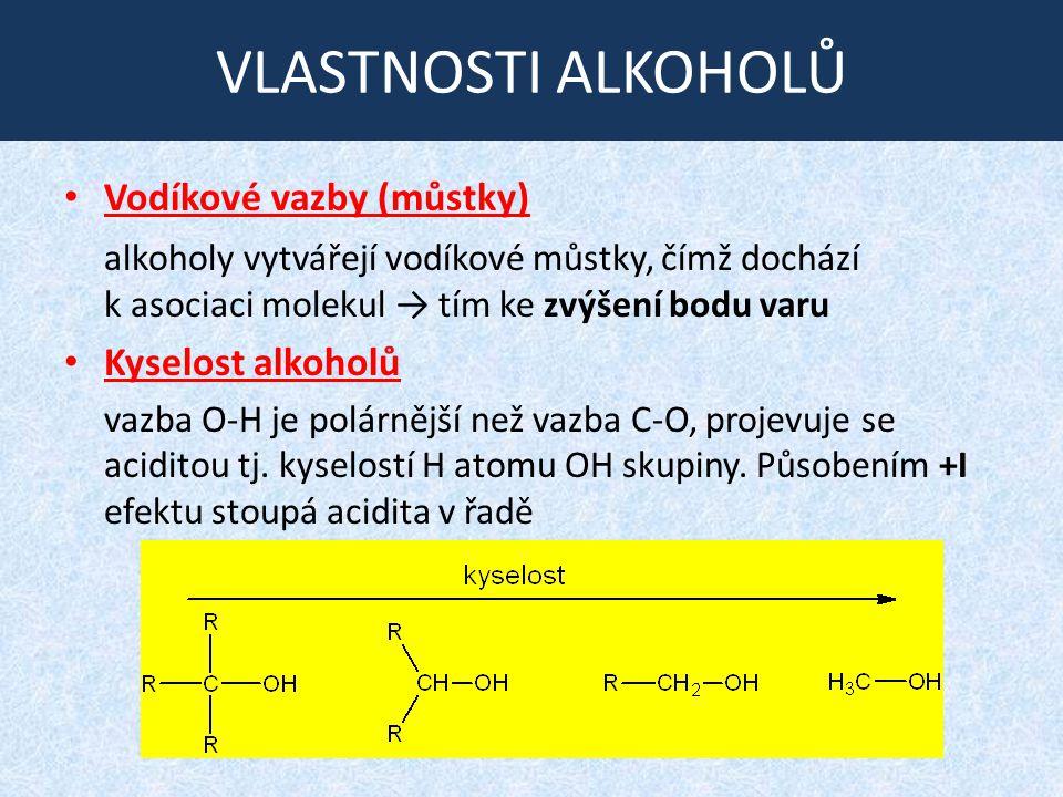 VLASTNOSTI ALKOHOLŮ Vodíkové vazby (můstky)