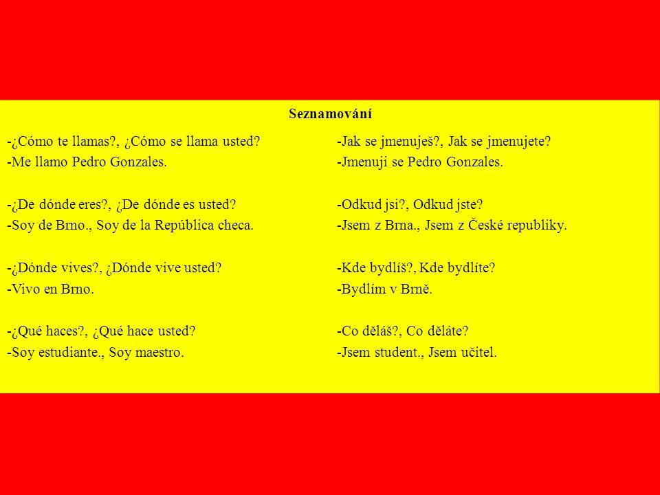 Seznamování -¿Cómo te llamas , ¿Cómo se llama usted -Me llamo Pedro Gonzales. -¿De dónde eres , ¿De dónde es usted