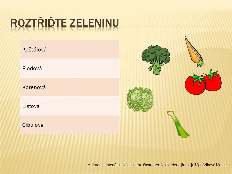 Roztřiďte zeleninu Košťálová Plodová Kořenová Listová Cibulová