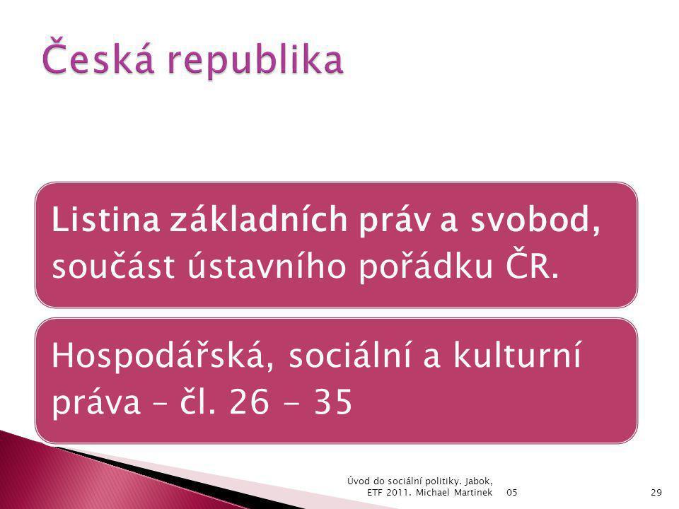 Česká republika Listina základních práv a svobod, součást ústavního pořádku ČR. Hospodářská, sociální a kulturní práva – čl. 26 - 35.