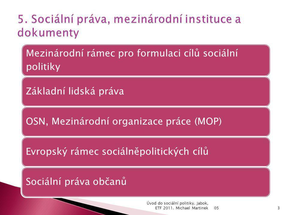 5. Sociální práva, mezinárodní instituce a dokumenty