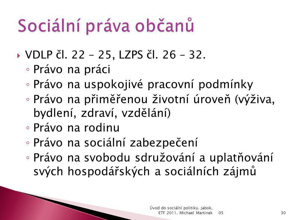 Sociální práva občanů Právo na práci