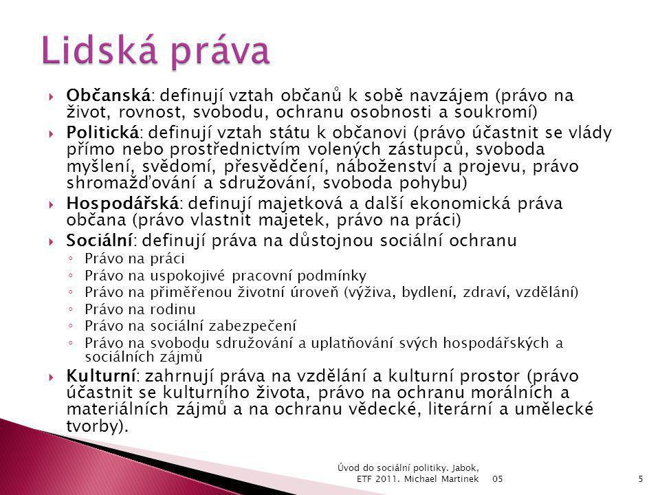 Lidská práva Občanská: definují vztah občanů k sobě navzájem (právo na život, rovnost, svobodu, ochranu osobnosti a soukromí)