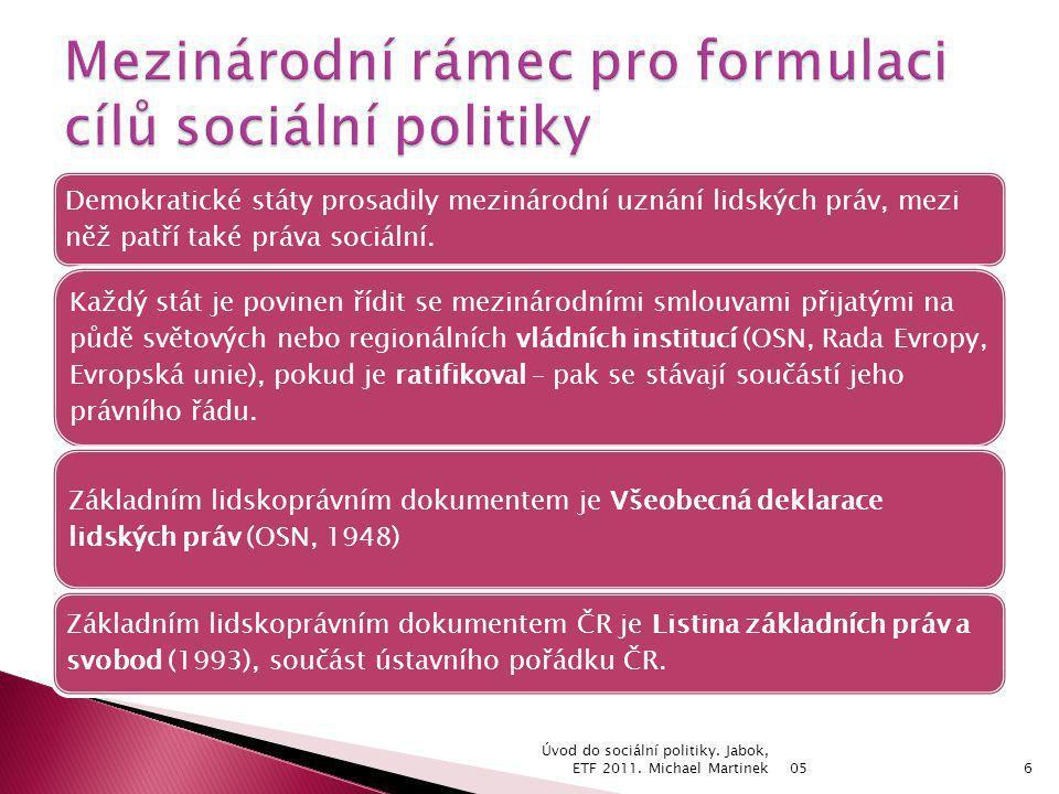 Mezinárodní rámec pro formulaci cílů sociální politiky