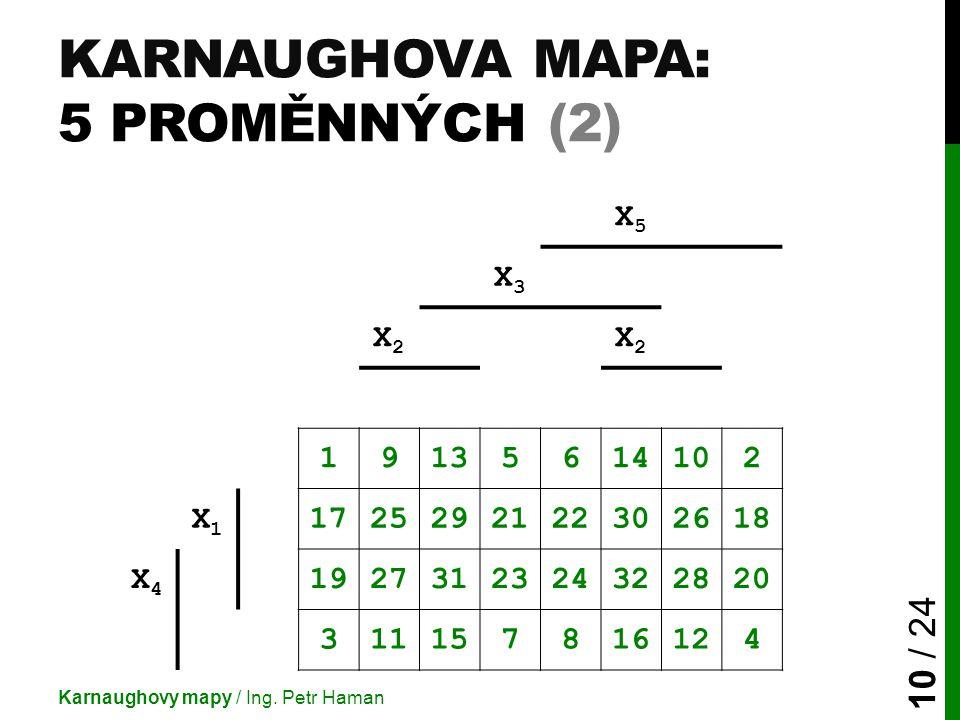 Karnaughova mapa: 5 proměnných (2)