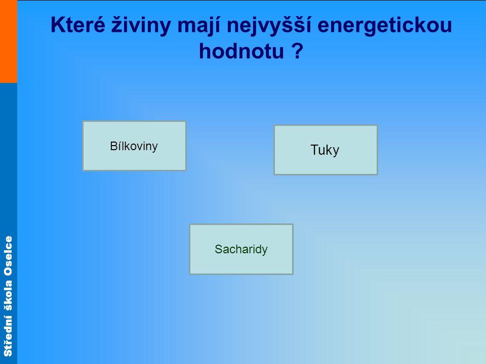 Které živiny mají nejvyšší energetickou hodnotu