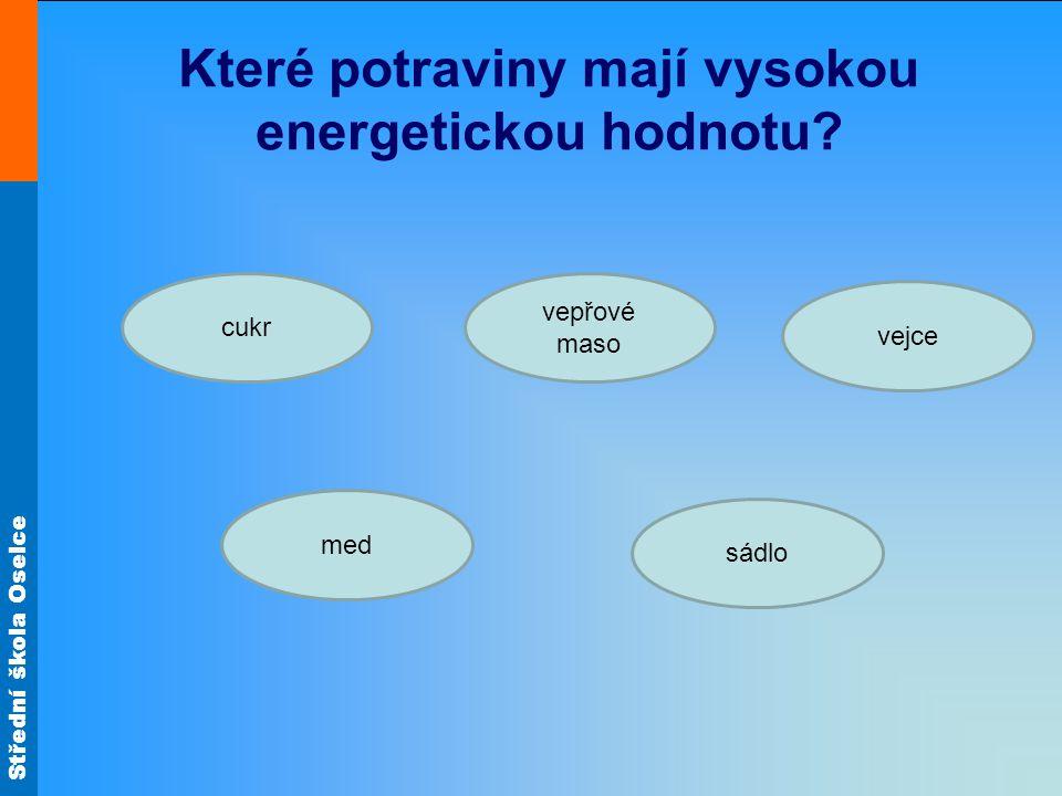 Které potraviny mají vysokou energetickou hodnotu