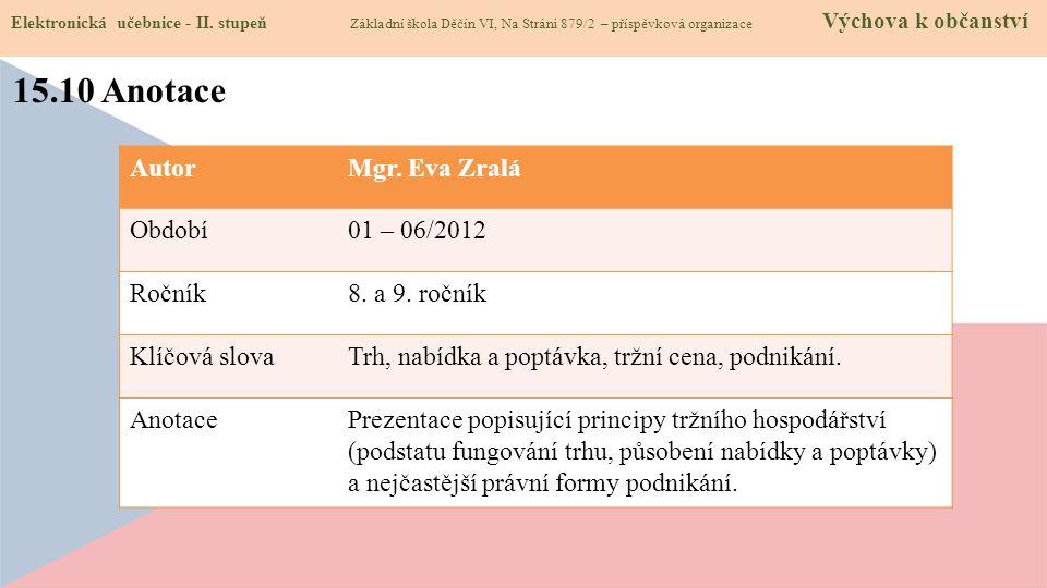 15.10 Anotace Autor Mgr. Eva Zralá Období 01 – 06/2012 Ročník