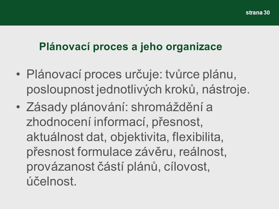 Plánovací proces a jeho organizace