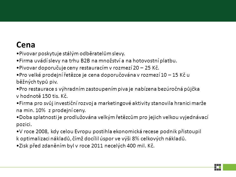 Cena Pivovar poskytuje stálým odběratelům slevy.