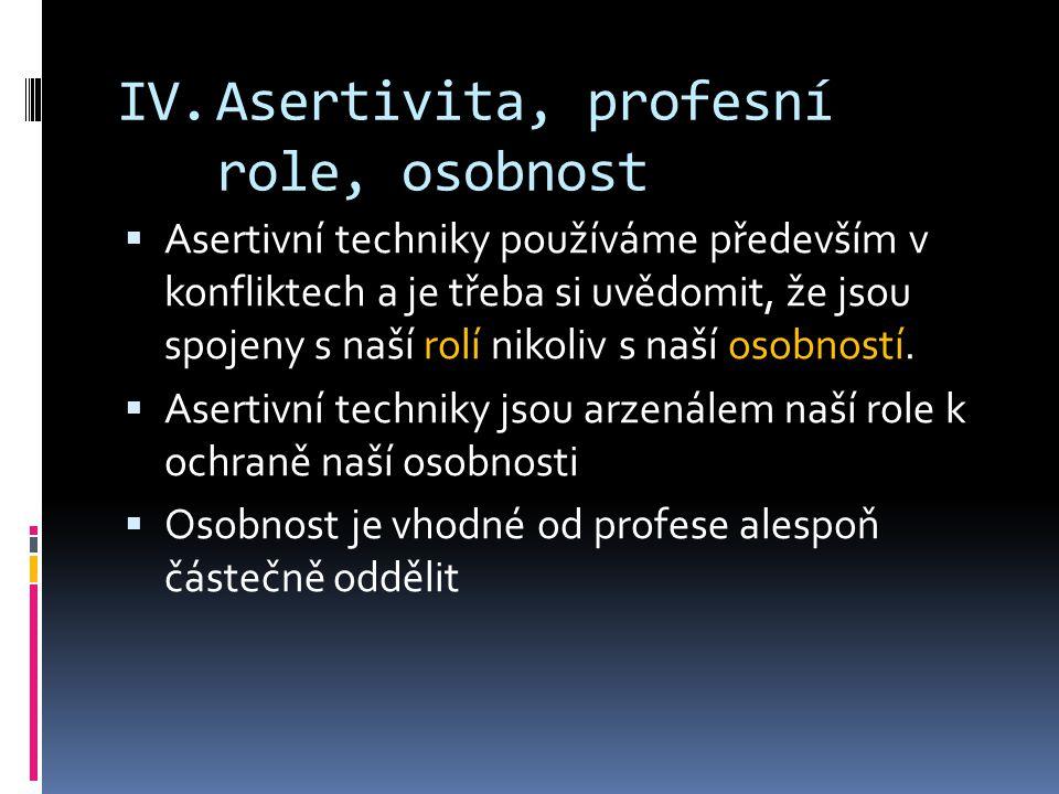 Asertivita, profesní role, osobnost
