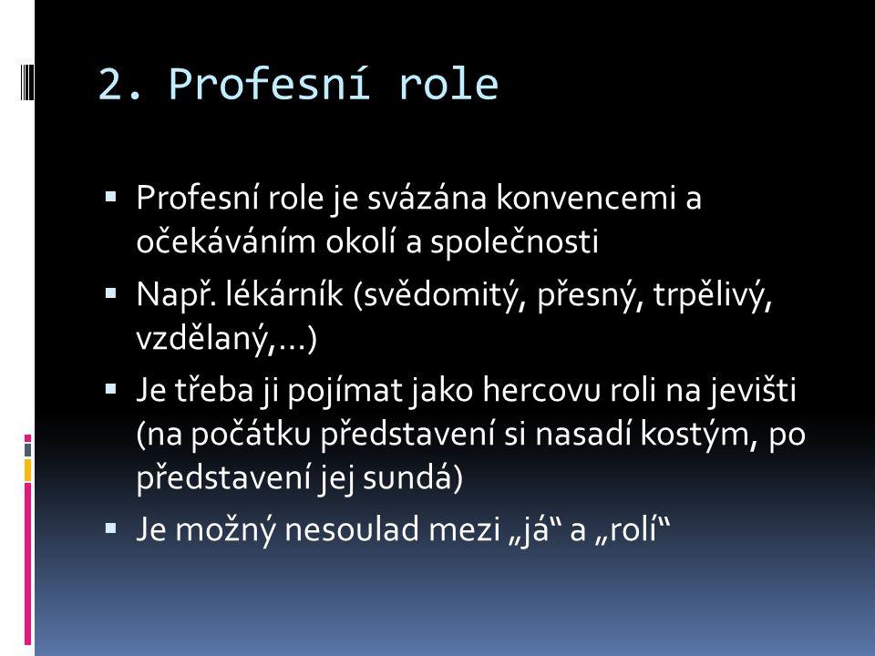Profesní role Profesní role je svázána konvencemi a očekáváním okolí a společnosti. Např. lékárník (svědomitý, přesný, trpělivý, vzdělaný,…)