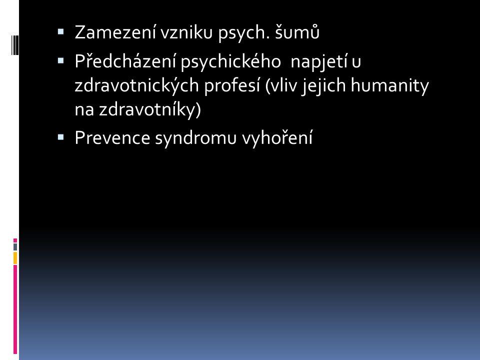 Zamezení vzniku psych. šumů