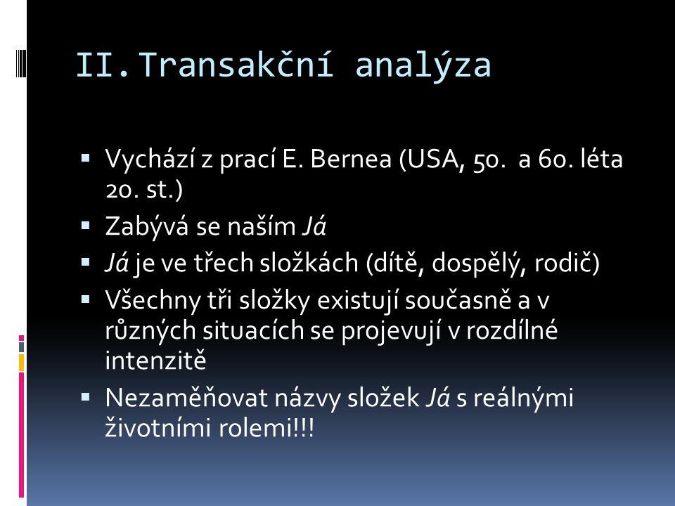Transakční analýza Vychází z prací E. Bernea (USA, 50. a 60. léta 20. st.) Zabývá se naším Já. Já je ve třech složkách (dítě, dospělý, rodič)