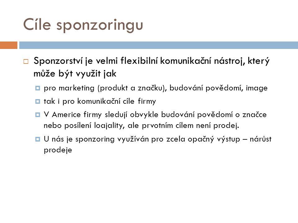 Cíle sponzoringu Sponzorství je velmi flexibilní komunikační nástroj, který může být využit jak.