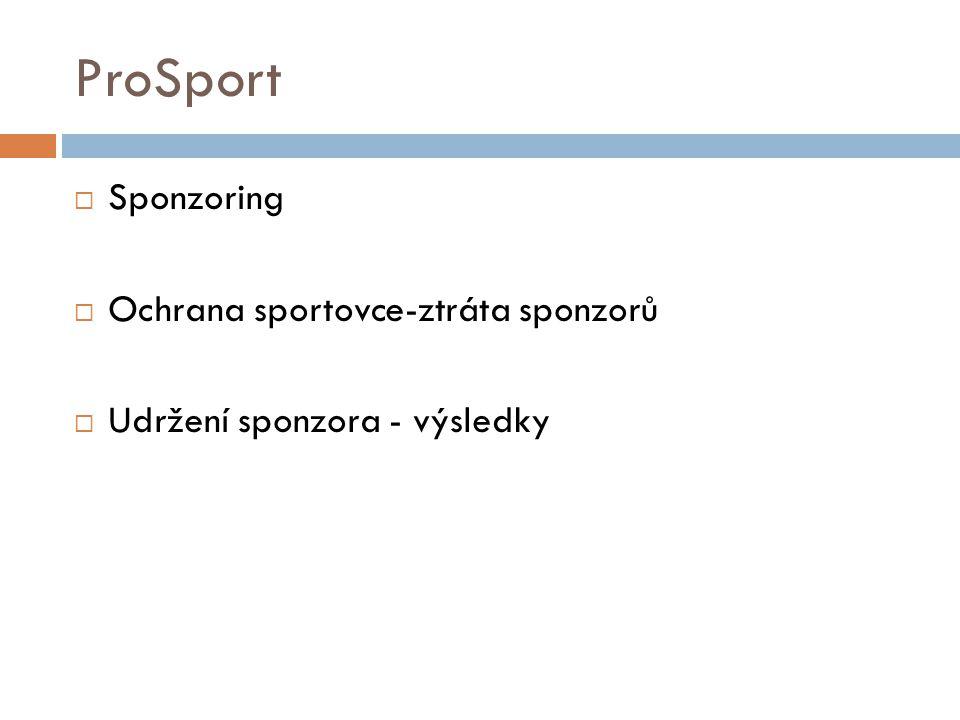 ProSport Sponzoring Ochrana sportovce-ztráta sponzorů
