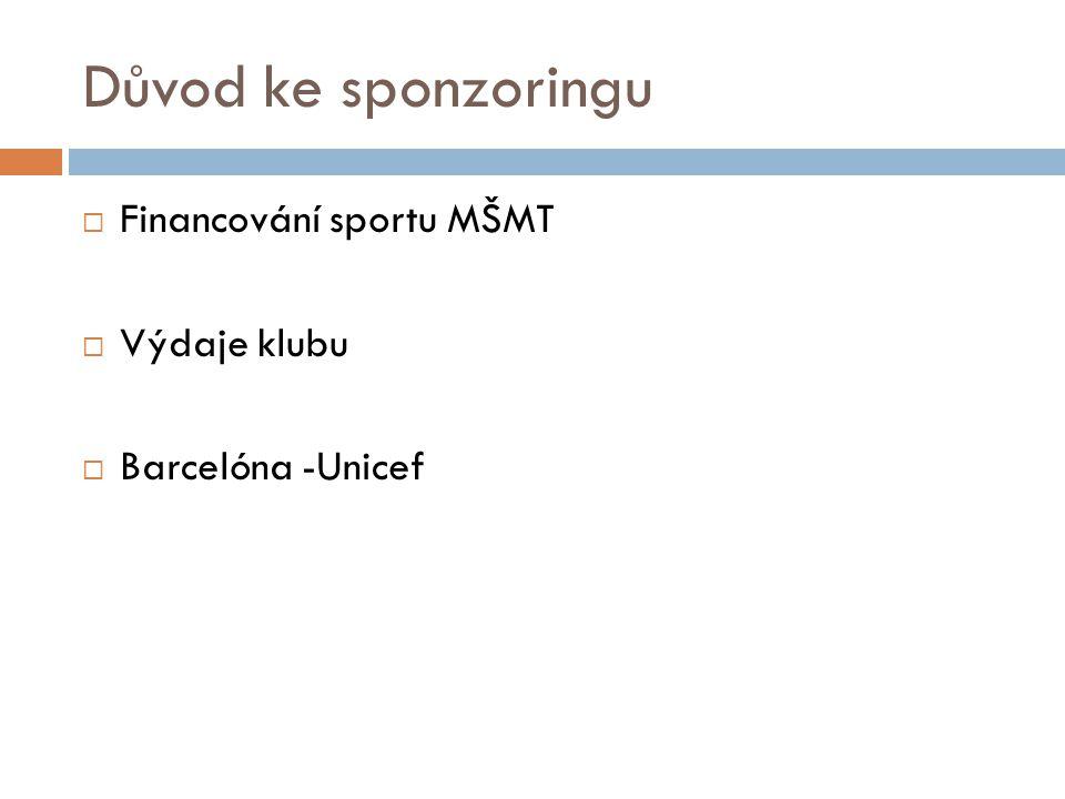 Důvod ke sponzoringu Financování sportu MŠMT Výdaje klubu