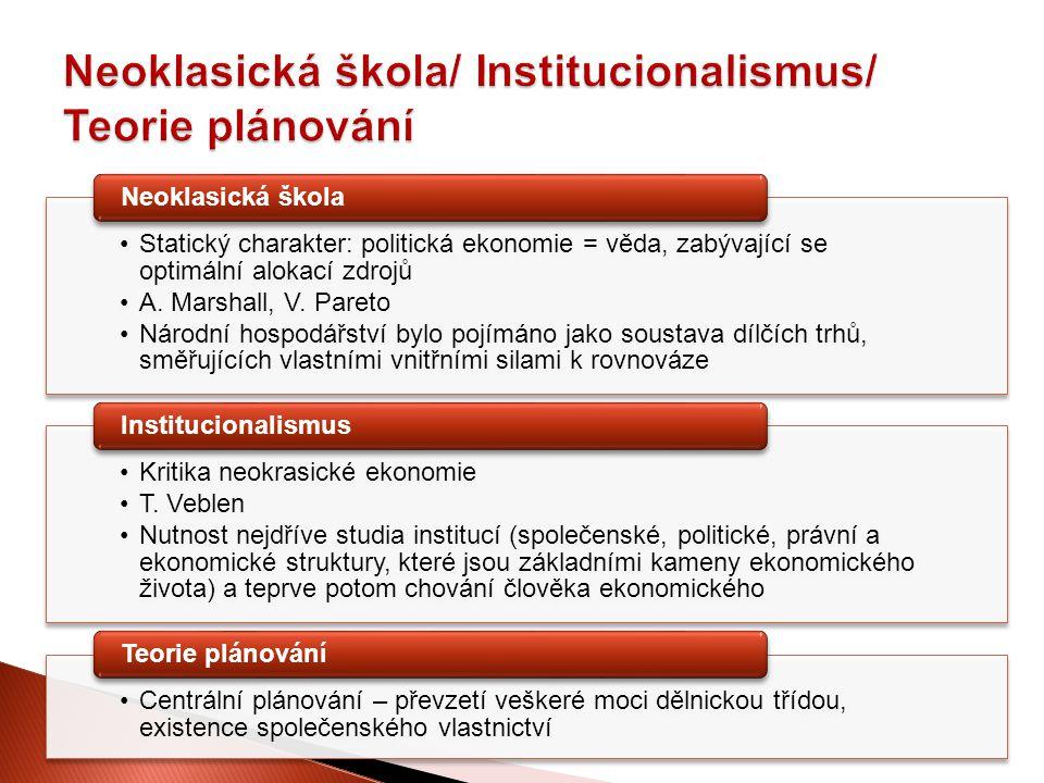 Neoklasická škola/ Institucionalismus/ Teorie plánování