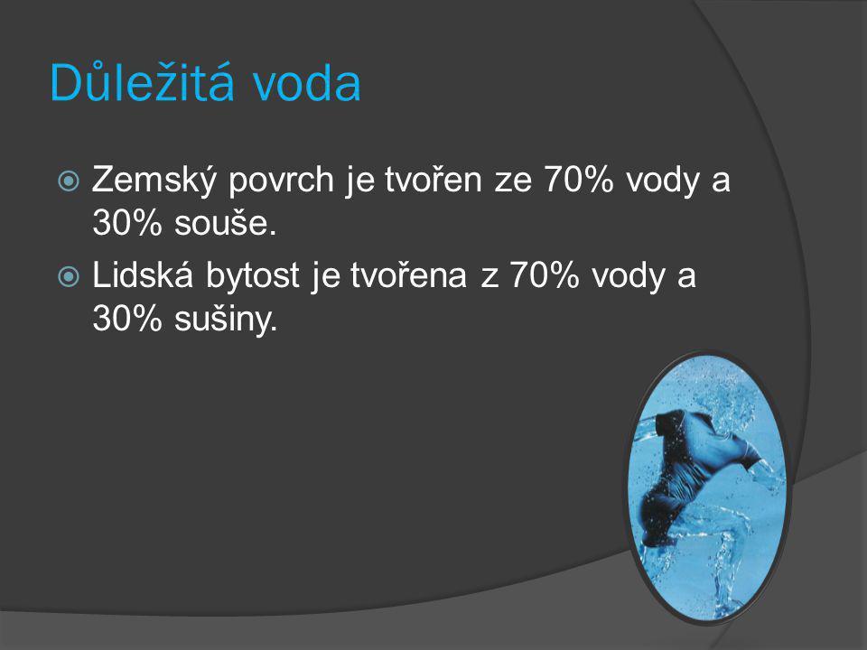 Důležitá voda Zemský povrch je tvořen ze 70% vody a 30% souše.
