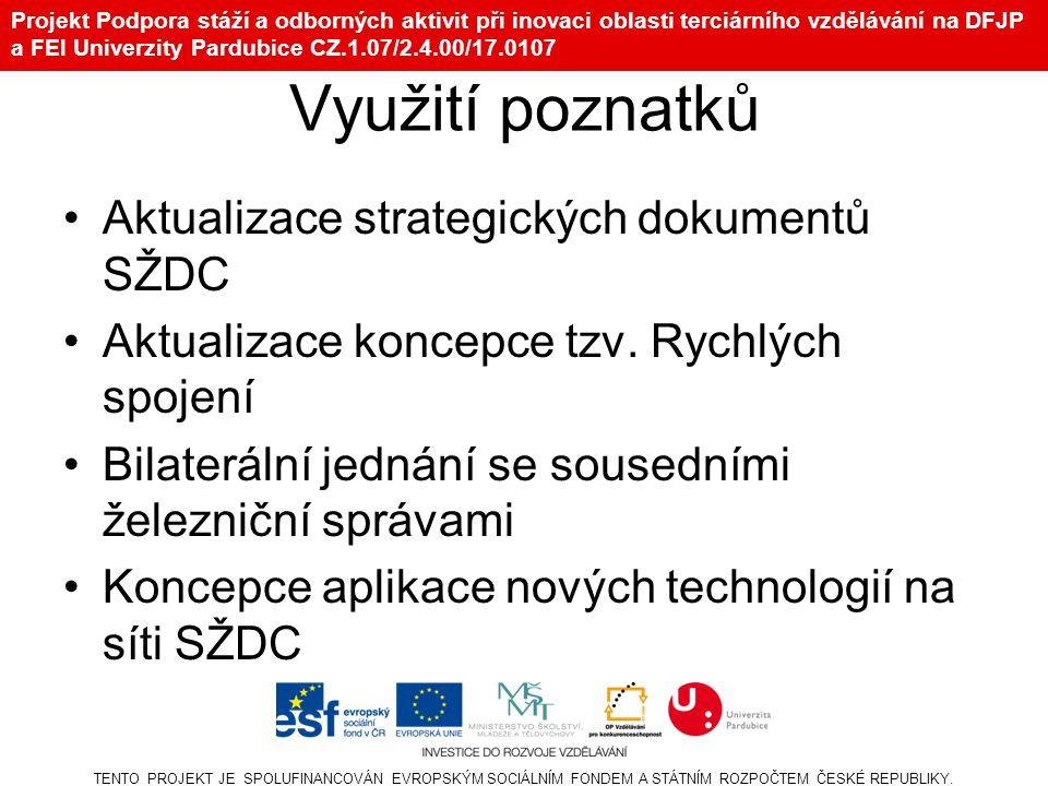 Využití poznatků Aktualizace strategických dokumentů SŽDC