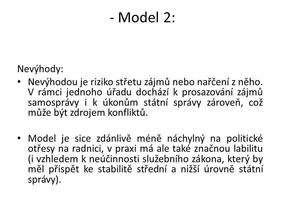 - Model 2: Nevýhody: