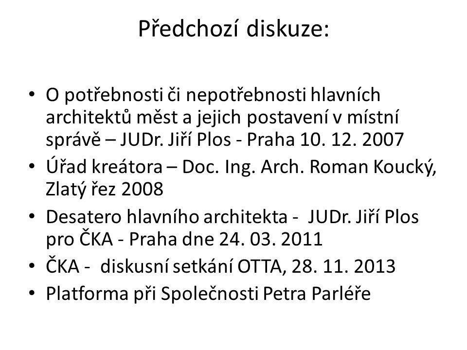 Předchozí diskuze: O potřebnosti či nepotřebnosti hlavních architektů měst a jejich postavení v místní správě – JUDr. Jiří Plos - Praha 10. 12. 2007.