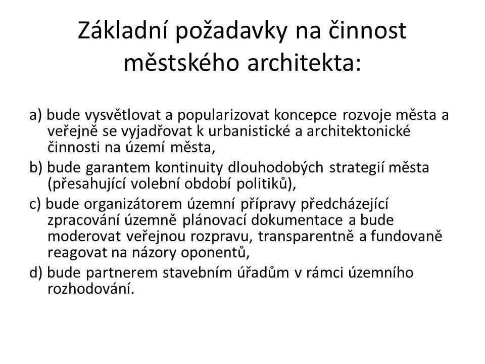 Základní požadavky na činnost městského architekta:
