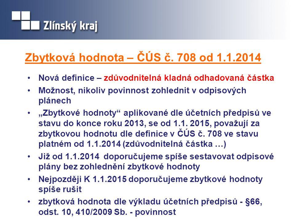 Zbytková hodnota – ČÚS č. 708 od 1.1.2014