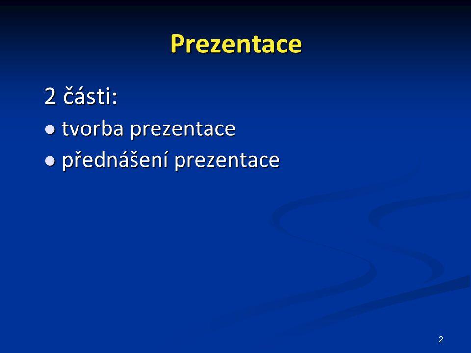 Prezentace 2 části: tvorba prezentace přednášení prezentace