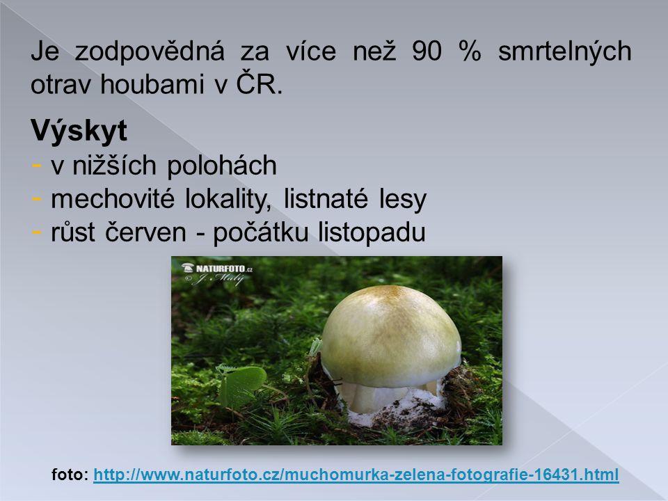Výskyt Je zodpovědná za více než 90 % smrtelných otrav houbami v ČR.