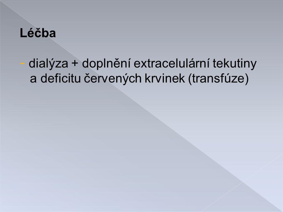 Léčba dialýza + doplnění extracelulární tekutiny a deficitu červených krvinek (transfúze)