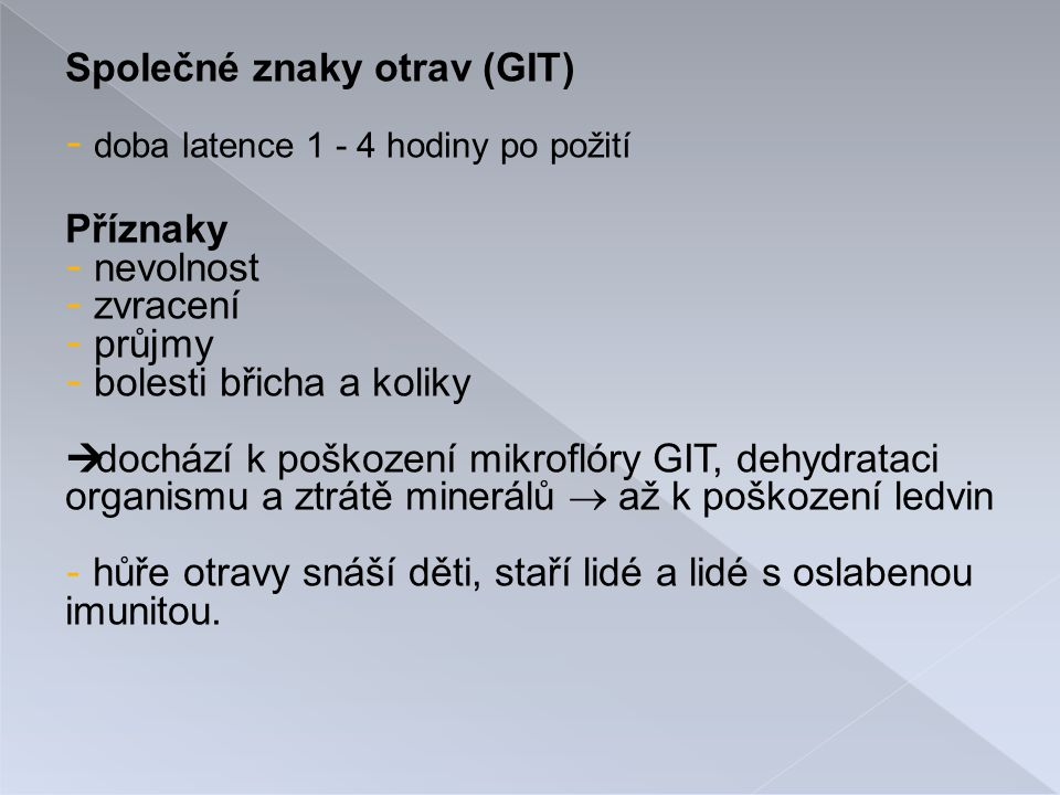 Společné znaky otrav (GIT)