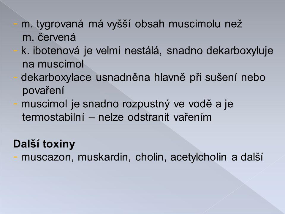 m. tygrovaná má vyšší obsah muscimolu než