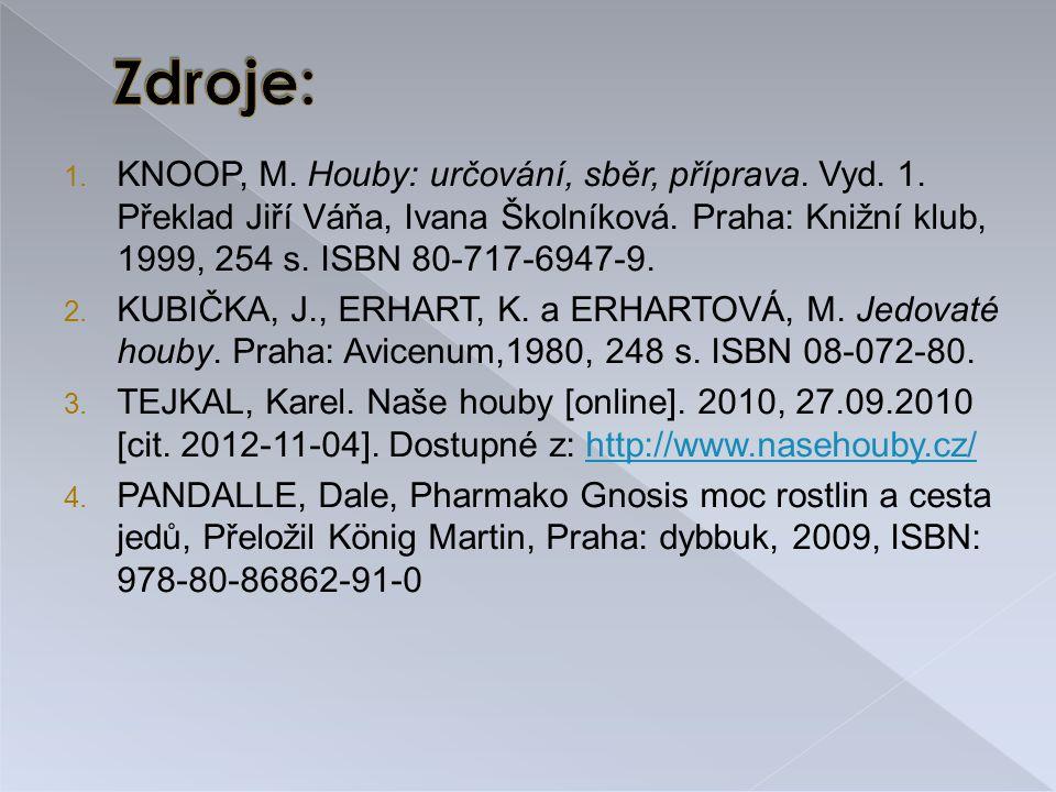 Zdroje: KNOOP, M. Houby: určování, sběr, příprava. Vyd. 1. Překlad Jiří Váňa, Ivana Školníková. Praha: Knižní klub, 1999, 254 s. ISBN 80-717-6947-9.