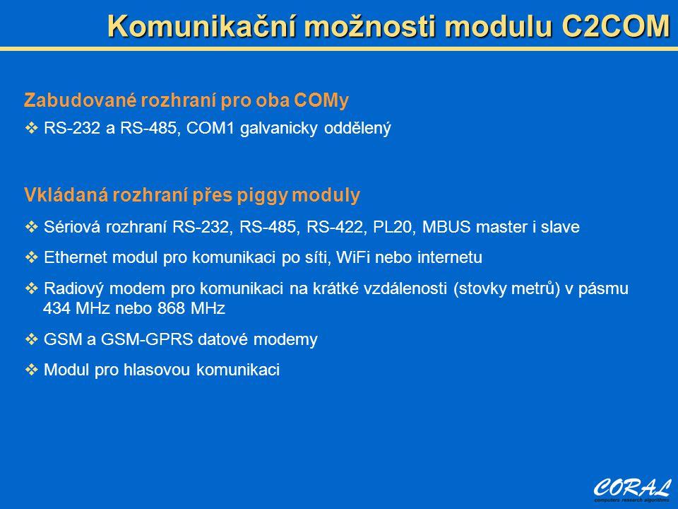 Komunikační možnosti modulu C2COM