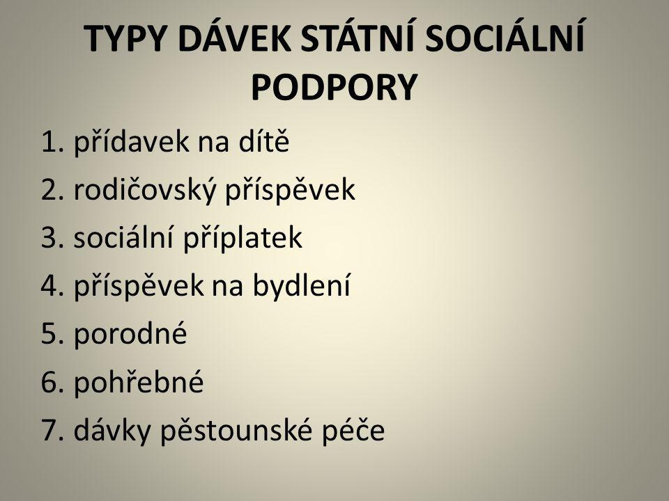 TYPY DÁVEK STÁTNÍ SOCIÁLNÍ PODPORY
