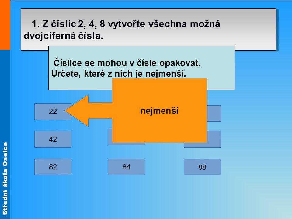 1. Z číslic 2, 4, 8 vytvořte všechna možná dvojciferná čísla.
