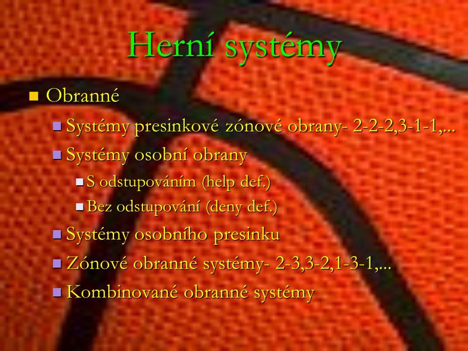 Herní systémy Obranné. Systémy presinkové zónové obrany- 2-2-2,3-1-1,... Systémy osobní obrany. S odstupováním (help def.)