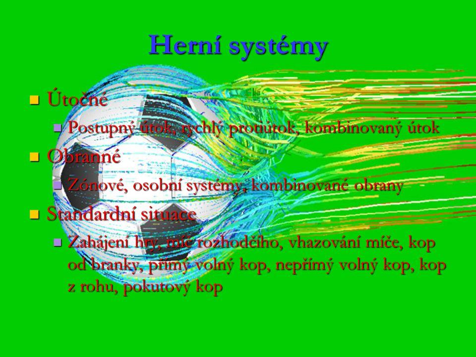 Herní systémy Útočné Obranné Standardní situace