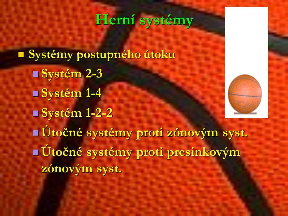 Herní systémy Systém 2-3 Systém 1-4 Systém 1-2-2