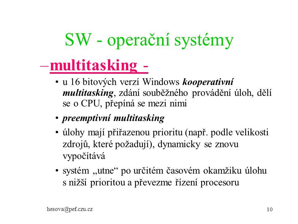 SW - operační systémy multitasking -