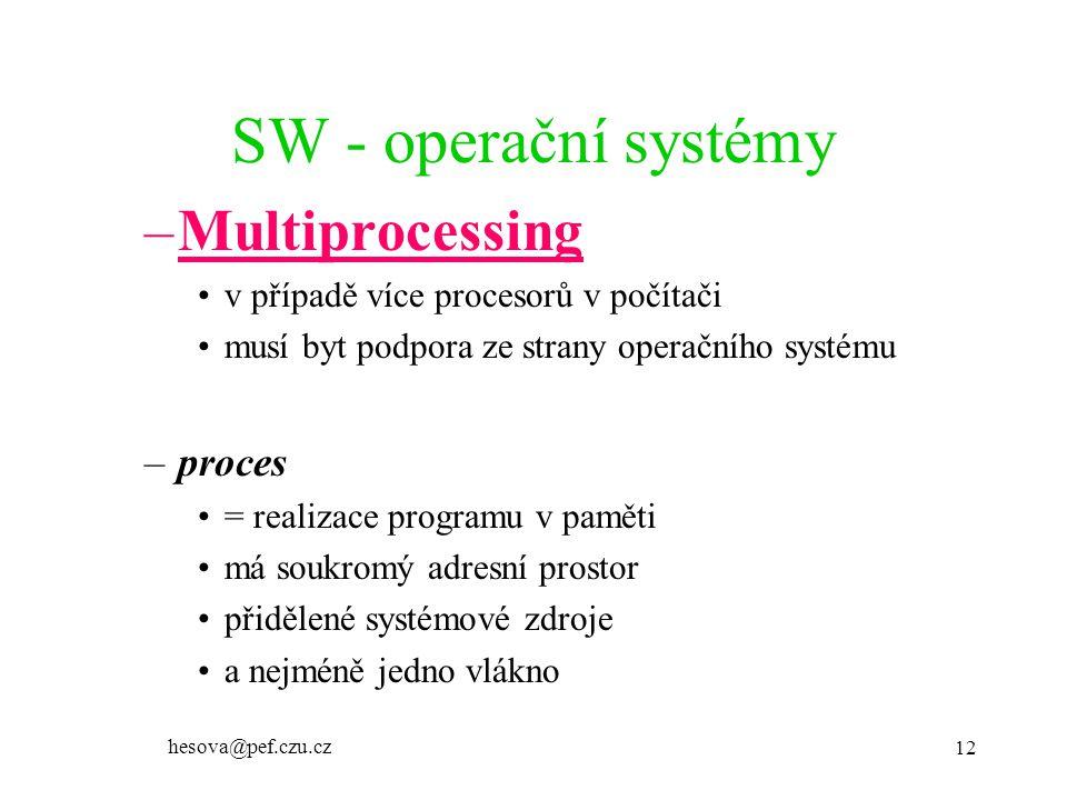 SW - operační systémy Multiprocessing proces