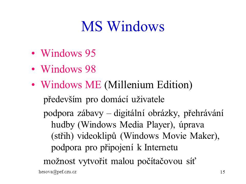 MS Windows Windows 95 Windows 98 Windows ME (Millenium Edition)