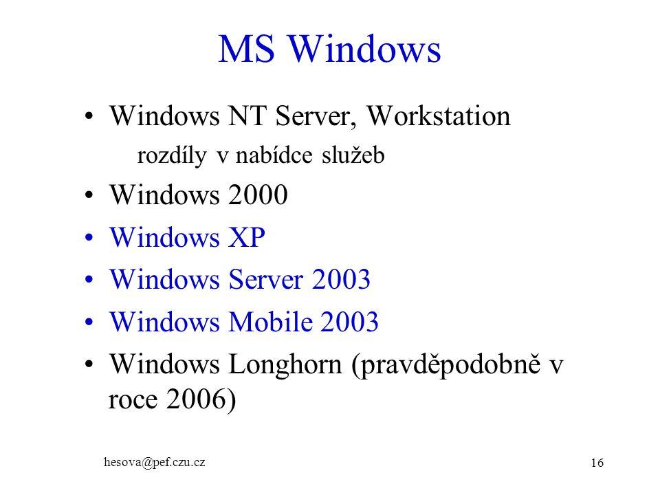 MS Windows Windows NT Server, Workstation Windows 2000 Windows XP