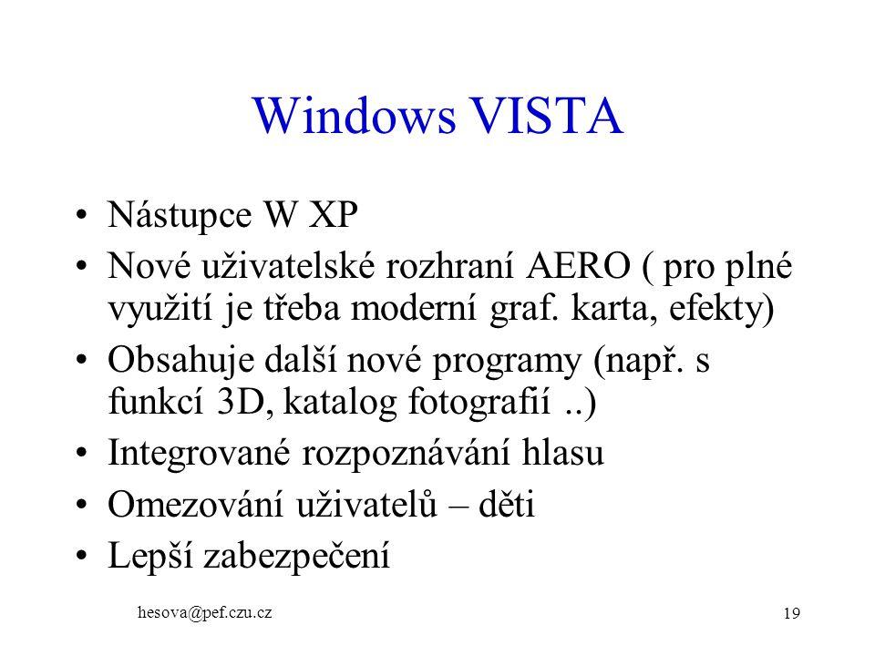 Windows VISTA Nástupce W XP